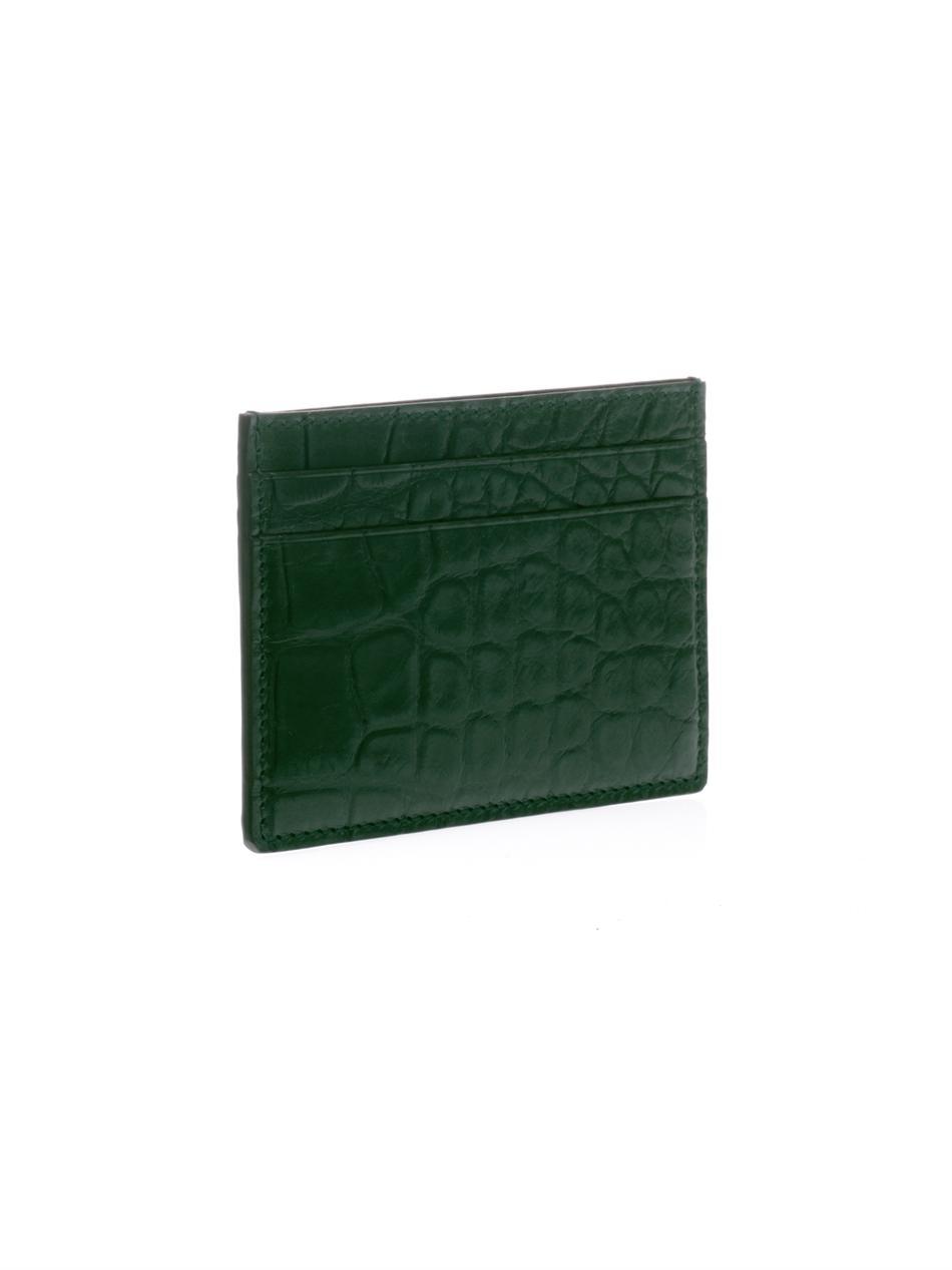 7403590b6a0 Lyst - Gucci Crocodileskin Card Holder in Green for Men