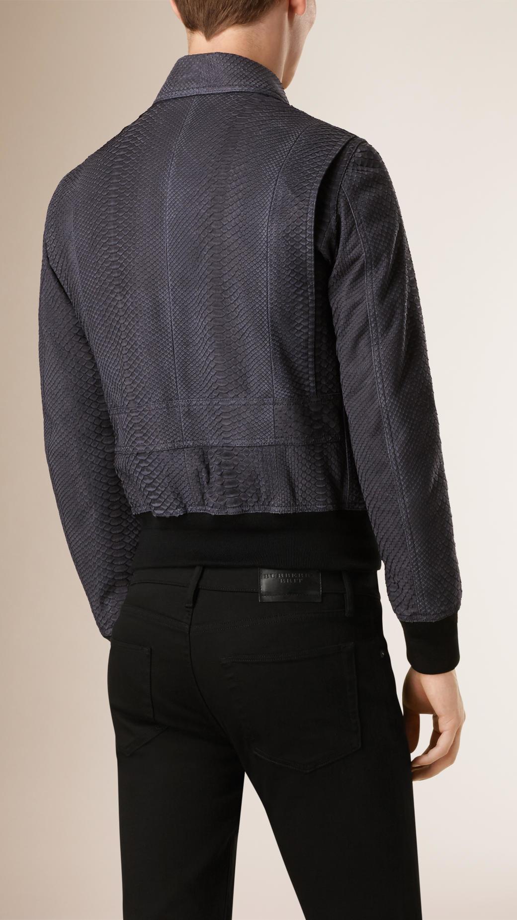 Lyst Burberry Python Bomber Jacket In Blue For Men