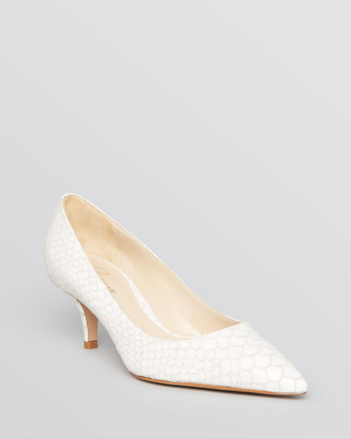Delman Pointed Toe Pumps Belle Mid Heel in White  Lyst
