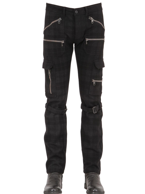 Diesel black gold 17cm Plaid Wool Cargo Pants in Black for Men | Lyst