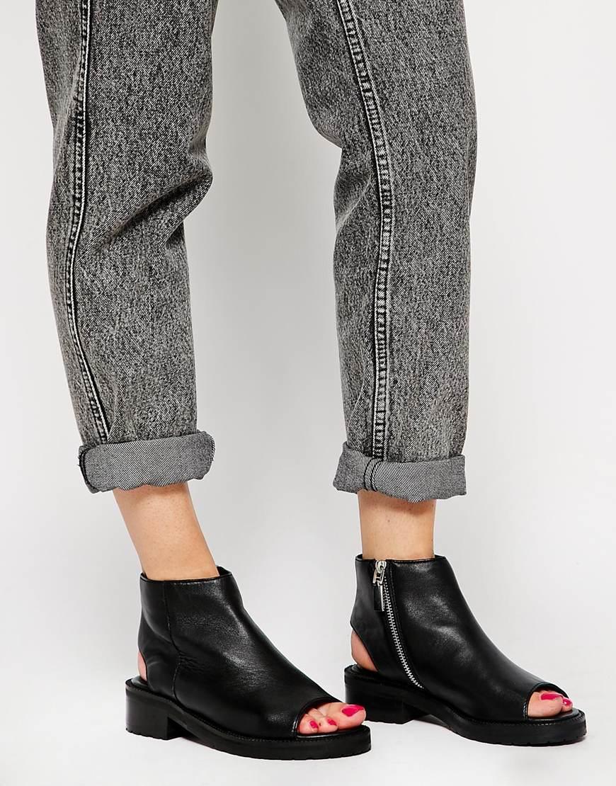 Asos Arachnid Peep Toe Ankle Boots in Black | Lyst