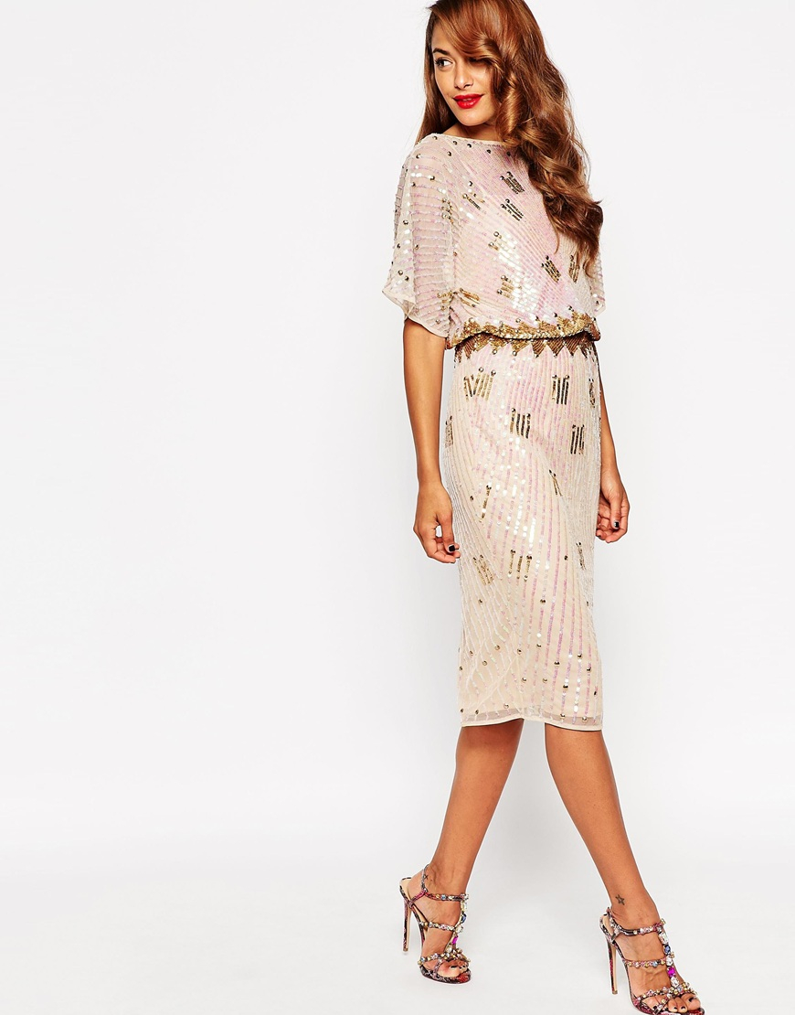 Lyst Asos Red Carpet Midi Kimono With Holographic Sequins