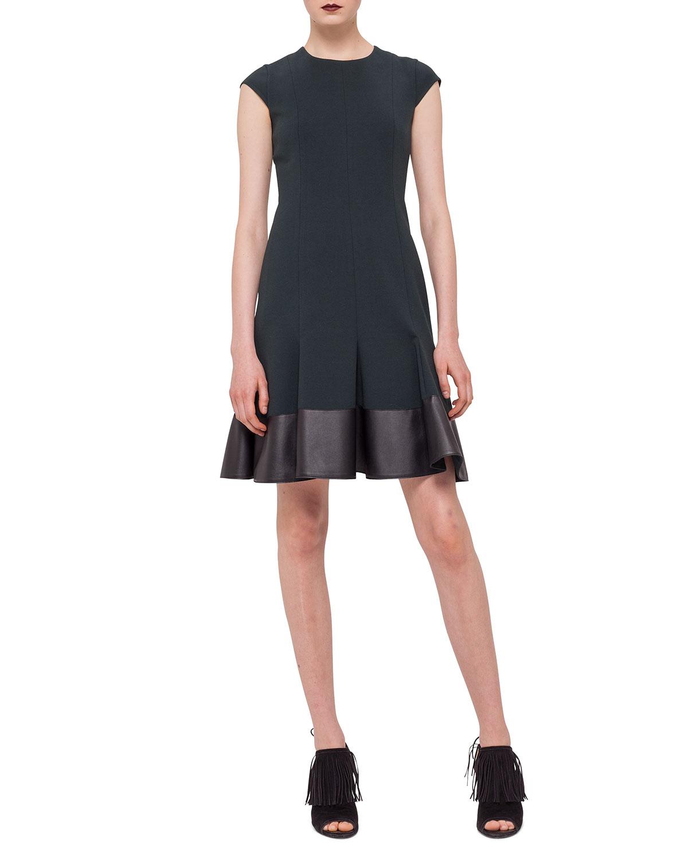 Lyst - Akris Punto Cap-sleeve Jersey Dress W/ Faux-leather Hem in Green