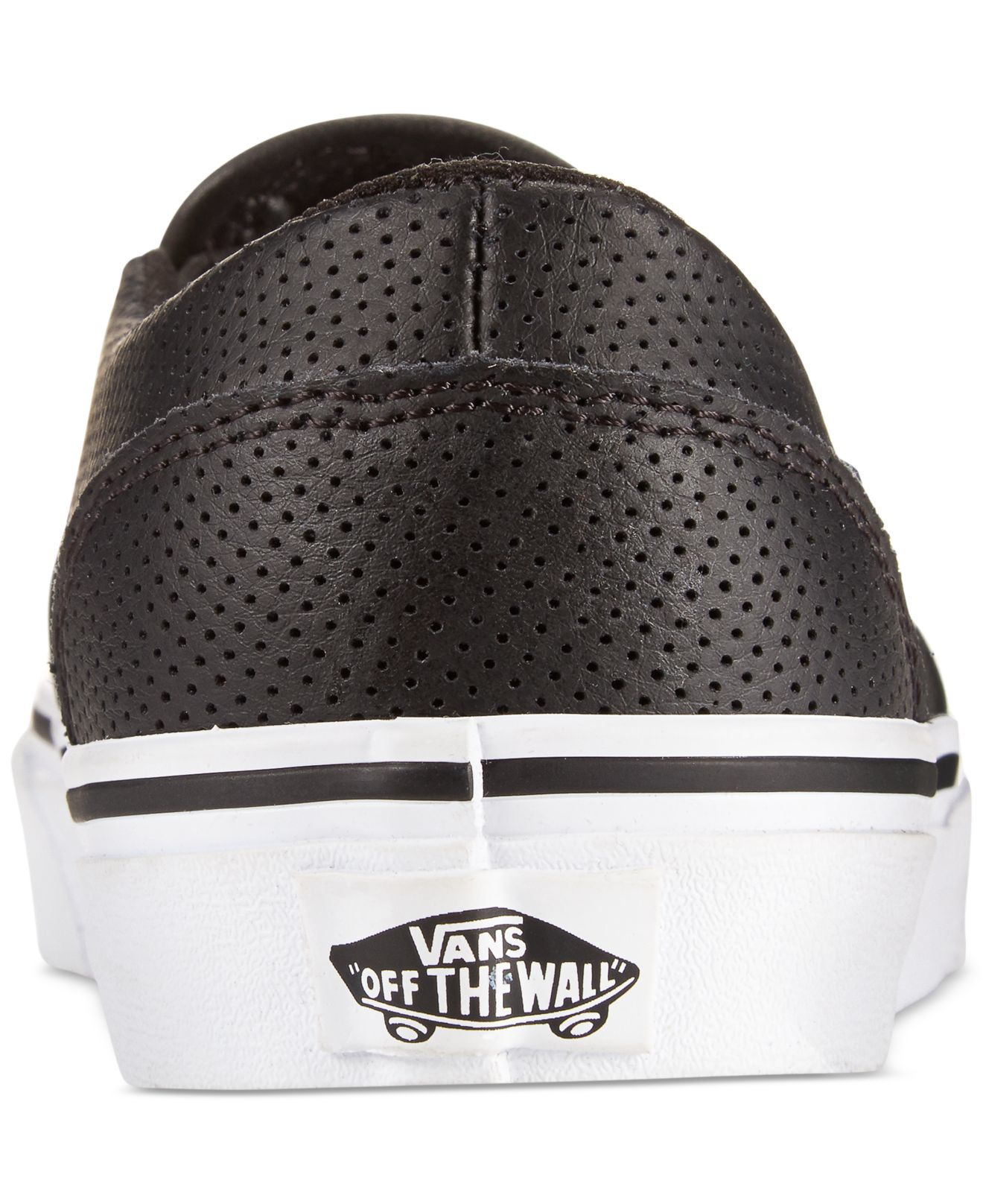 vans classic slip on black perforated leather women's