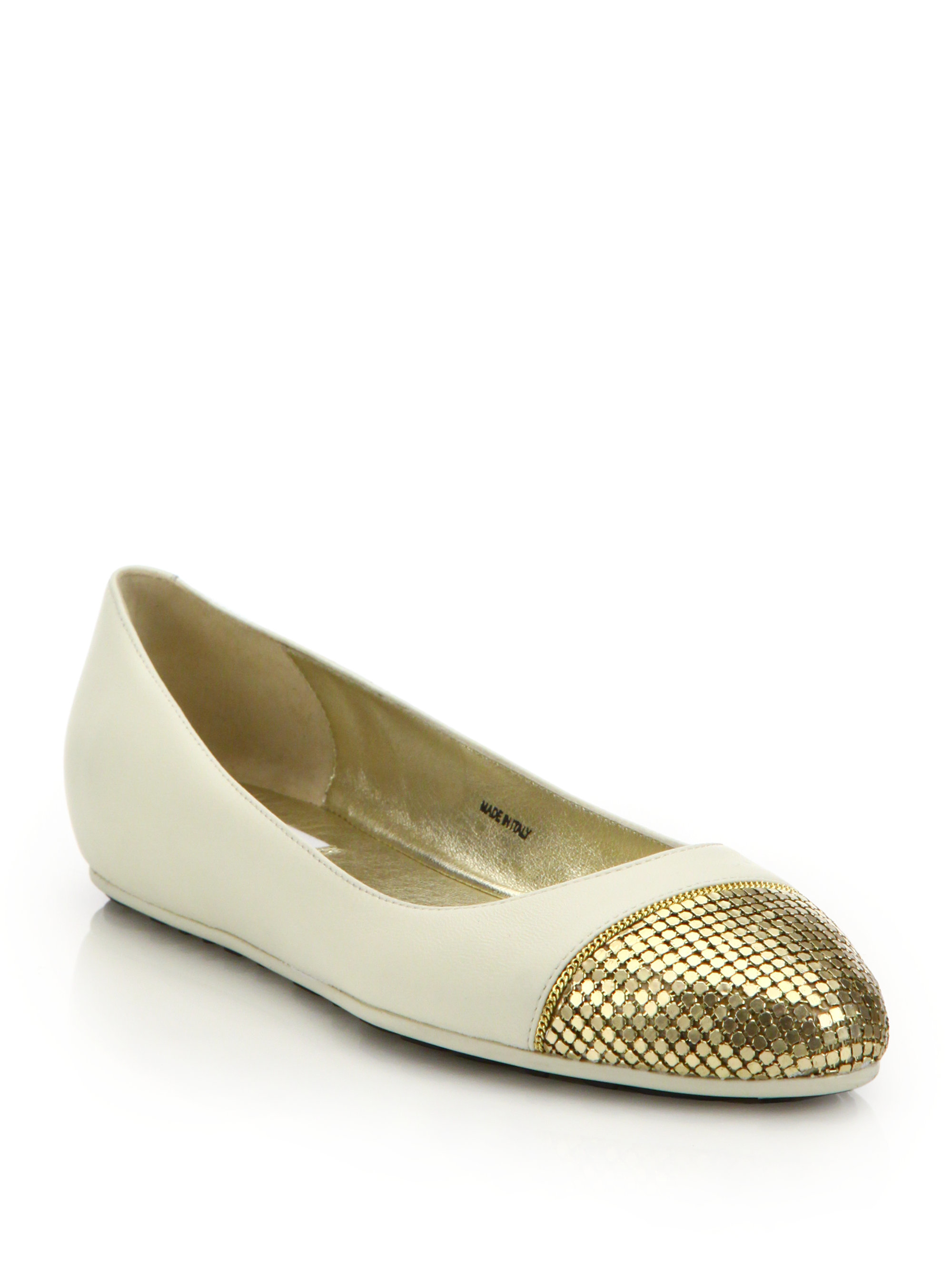 f8c68f5e78e6 ... order lyst jimmy choo waine chainmail leather ballet flats in metallic  7ad8b 95040