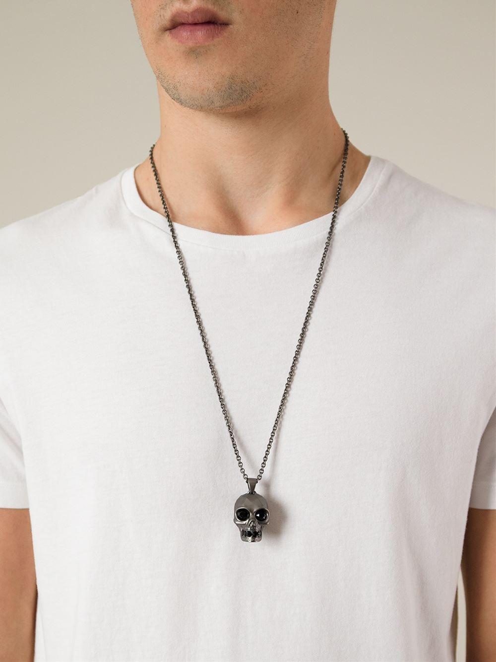 Lyst Alexander Mcqueen Skull Pendant Necklace in Metallic for Men