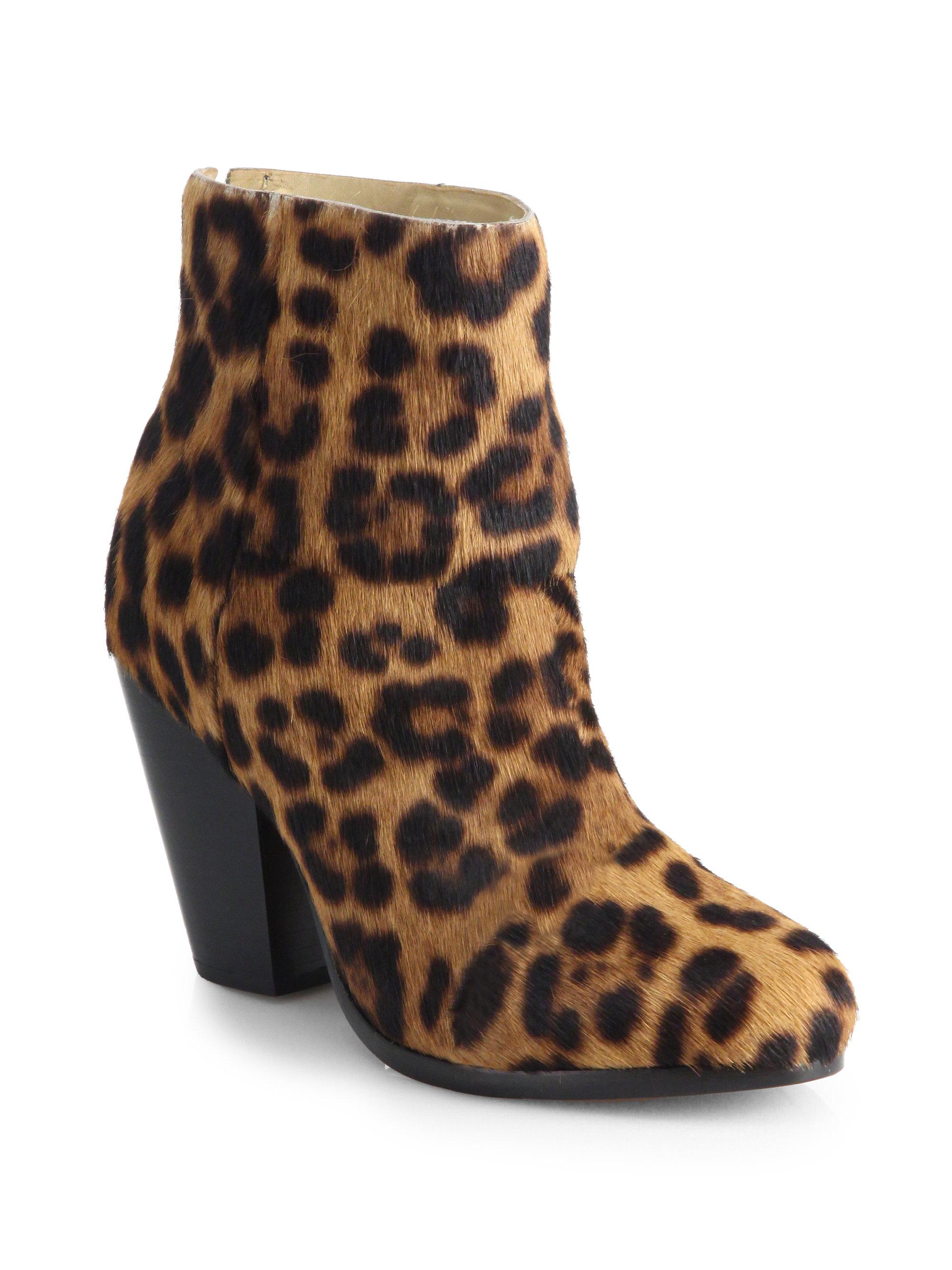 rag bone newbury leopard print calf hair ankle boots in