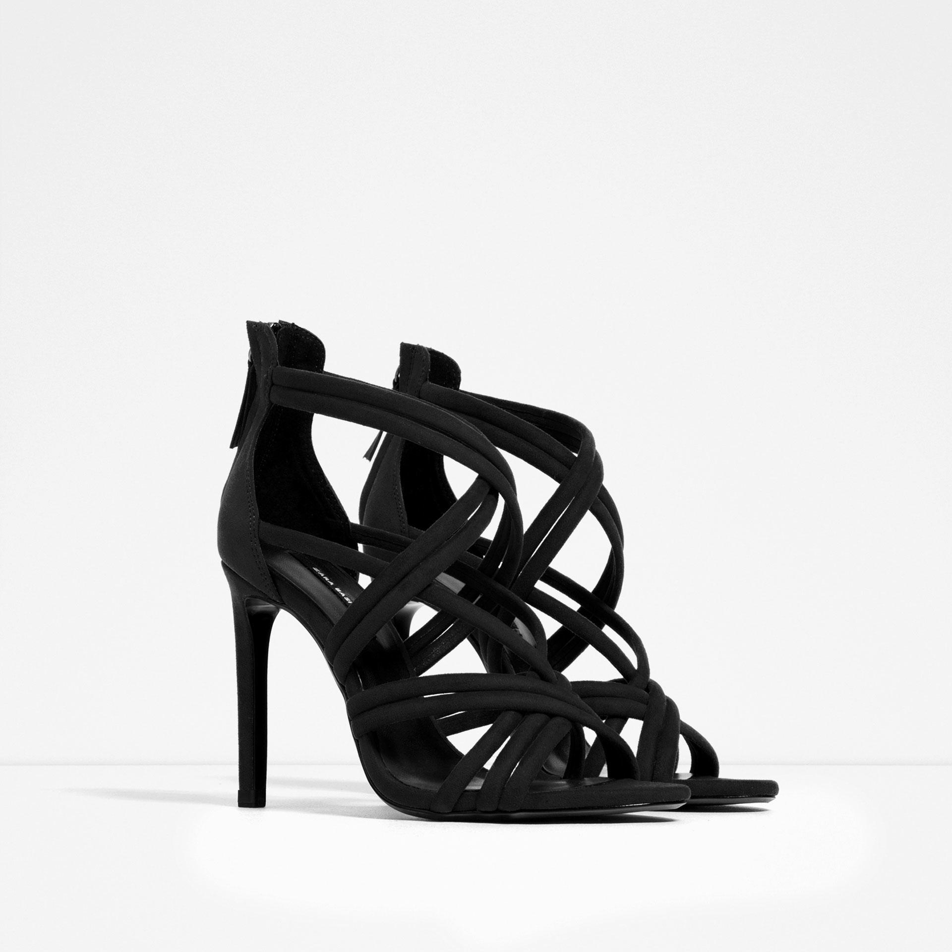 Zara High Heel Strappy Sandals in Black | Lyst