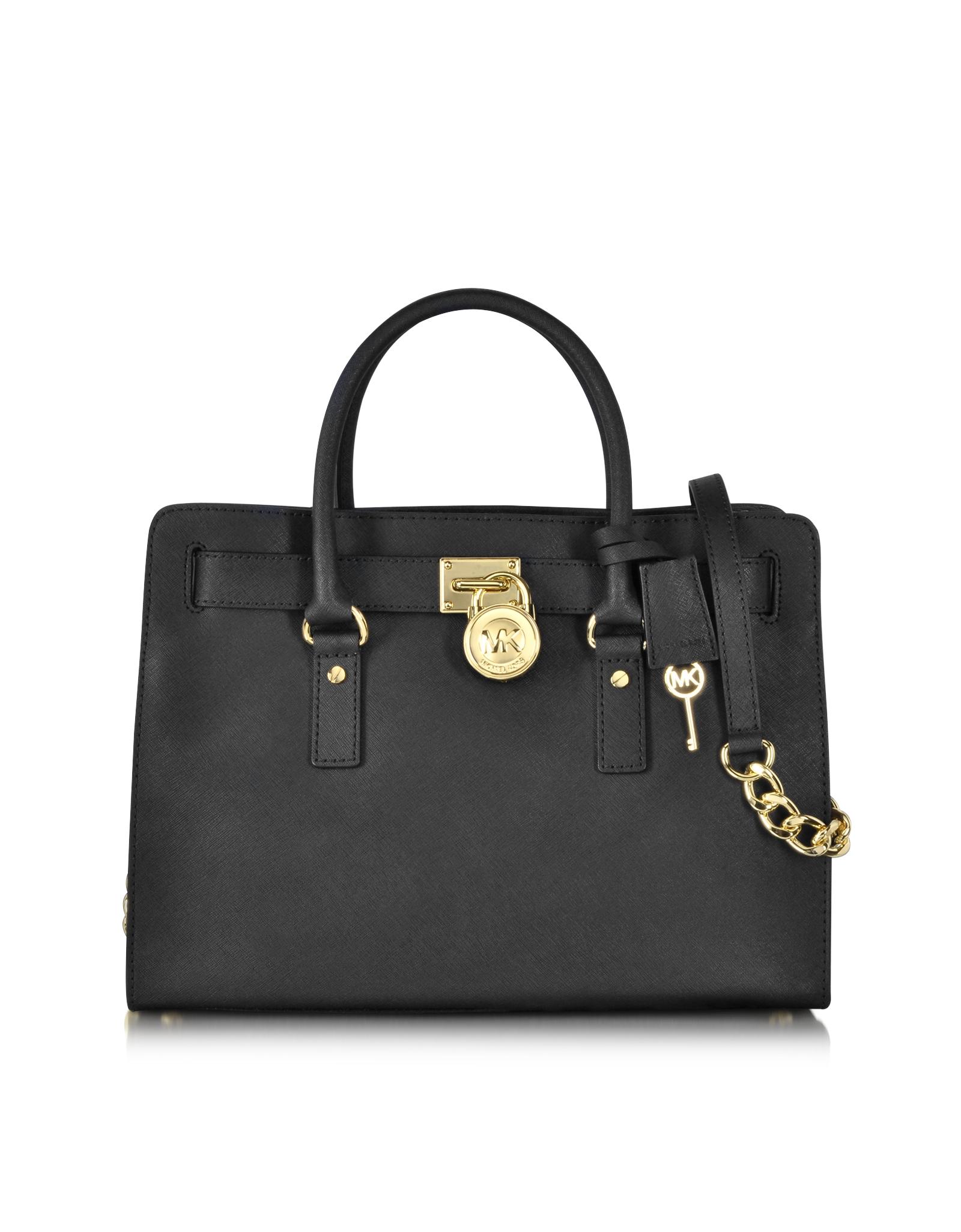 752788a09ab7 Lyst - Michael Kors Hamilton Large Saffiano Leather Satchel in Black