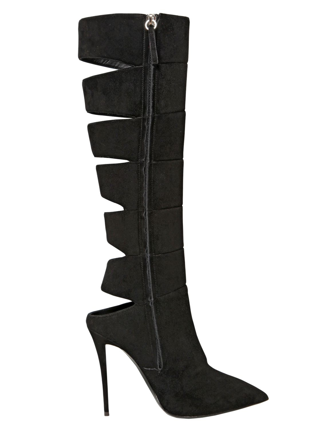 giuseppe zanotti 110mm cut out suede boots in black lyst