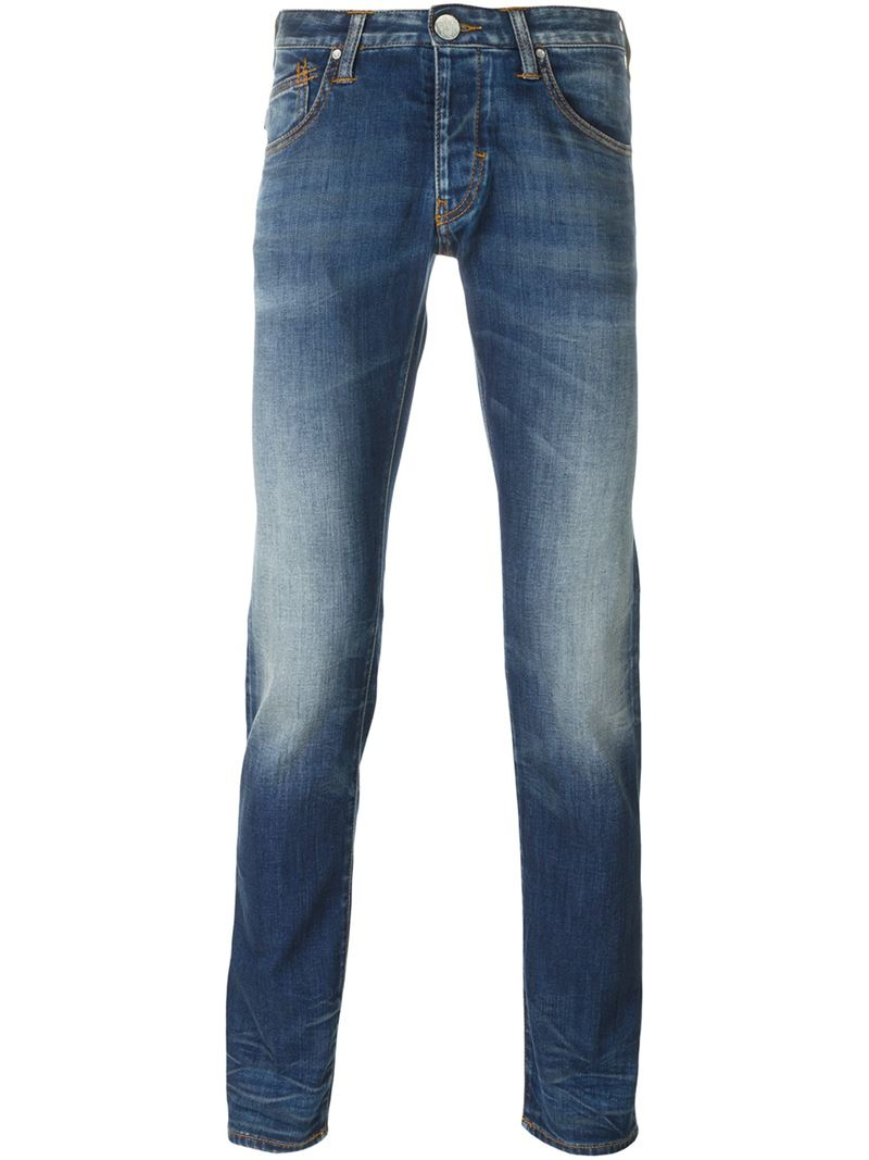armani jeans stone washed skinny jeans in blue for men save 61 lyst. Black Bedroom Furniture Sets. Home Design Ideas