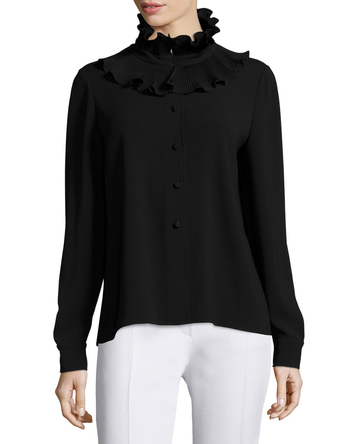 Lyst Co Long Sleeve Ruffle Neck Sweater In Black