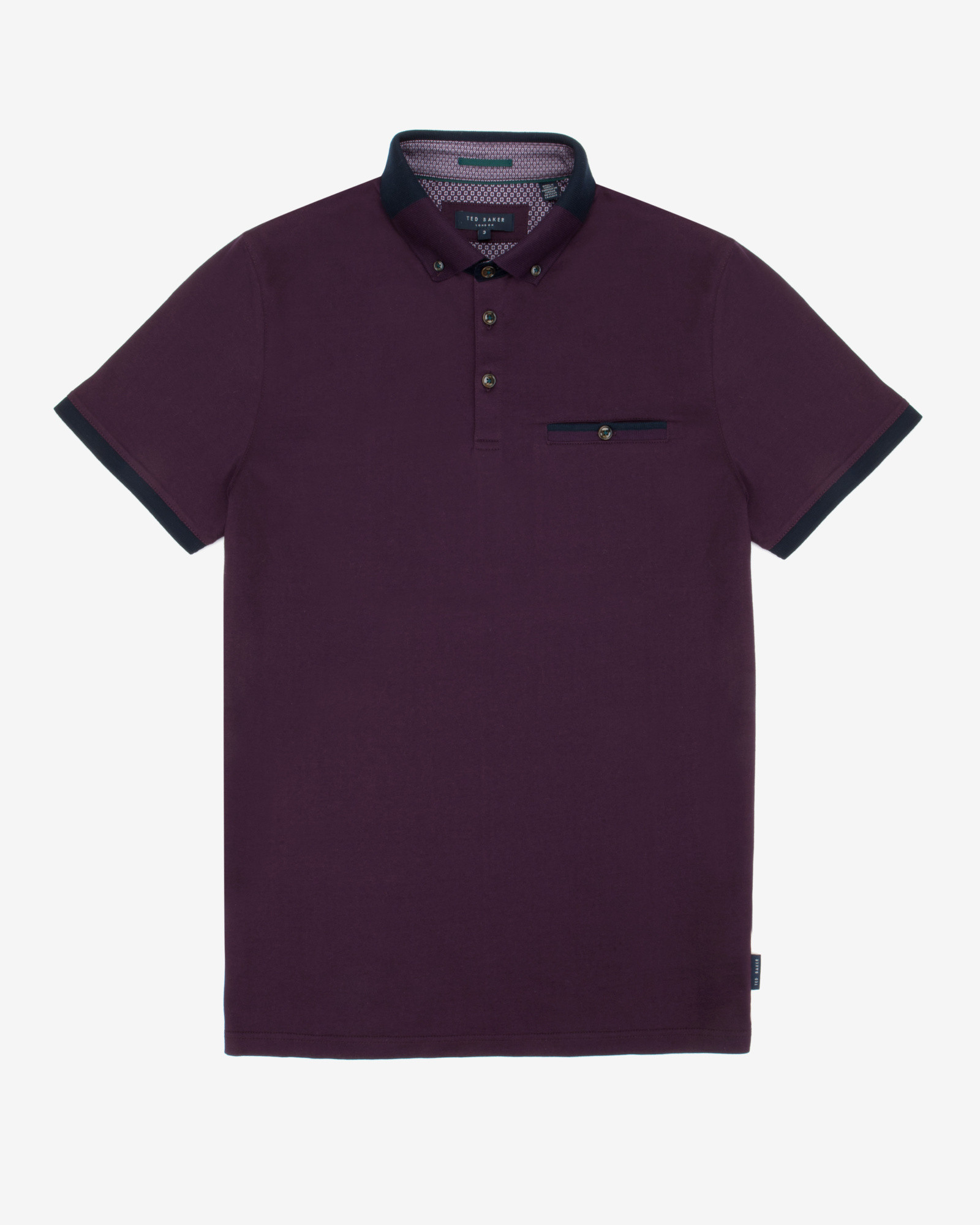 Ted baker color block polo shirt in purple for men light for Polo color block shirt