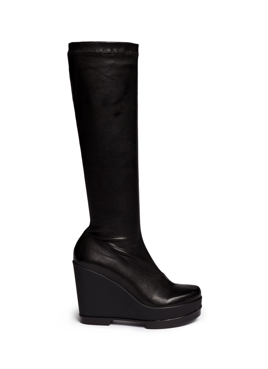 a594a01105b Lyst - Robert Clergerie  sostij  Stretch Leather Wedge Knee High ...