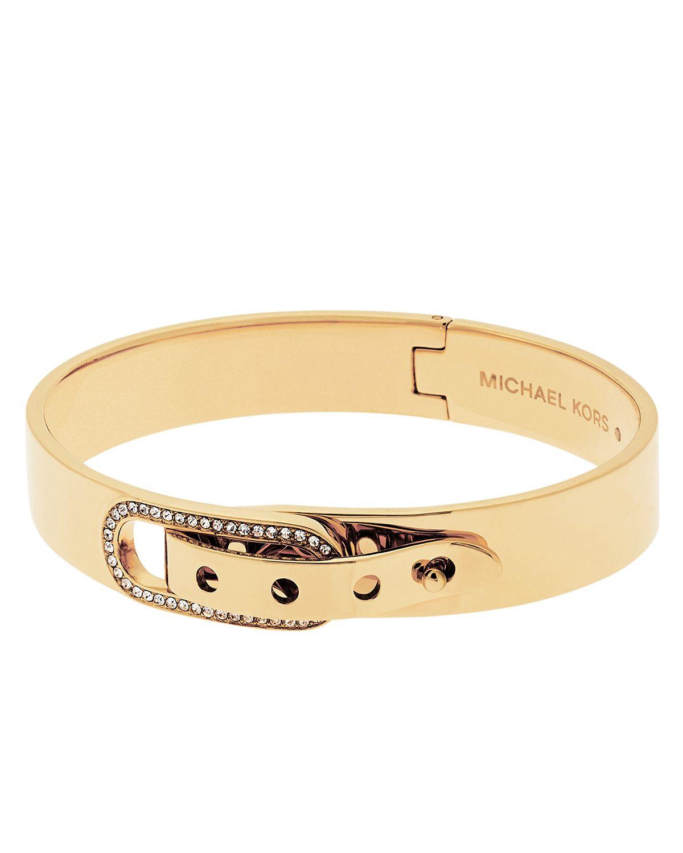 michael kors pave buckle bangle bracelet in gold lyst. Black Bedroom Furniture Sets. Home Design Ideas