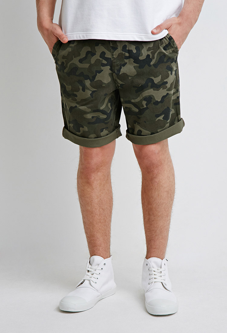 Forever 21 Drawstring Camo Shorts in Green for Men | Lyst