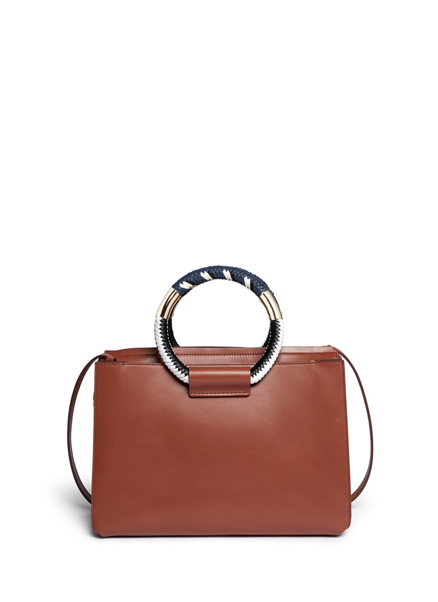 The Row Classic Braided Ring Handle Leather Box Bag In
