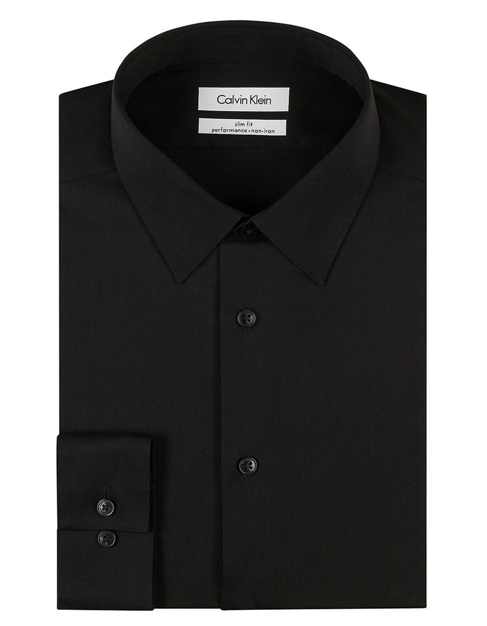 Lyst Calvin Klein Slim Fit Dress Shirt In Black For Men