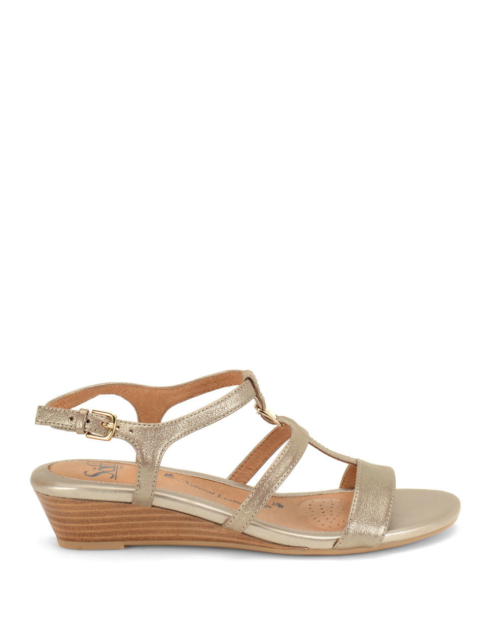 s246fft ilissa metallic leather wedge sandals in metallic lyst