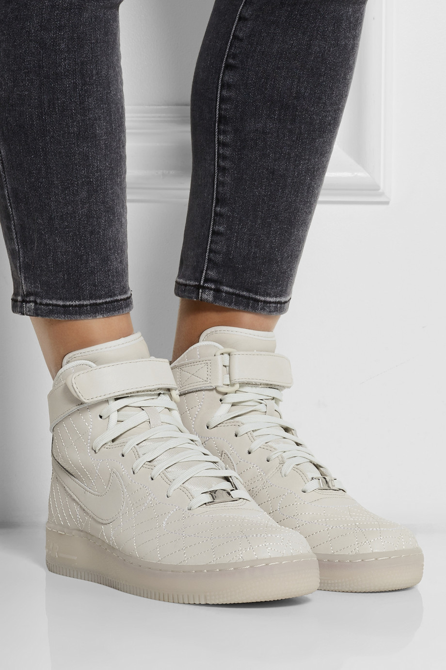 ... Nike Air Force 1 Nyc Leather High-Top Sneakers in Gray Lyst