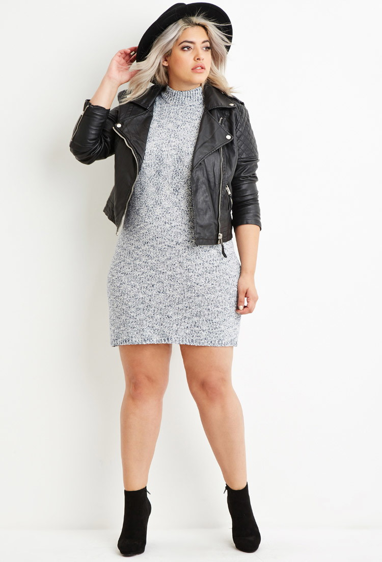 Lyst - Forever 21 Plus Size Marled Knit Sweater Dress in Blue e230be497