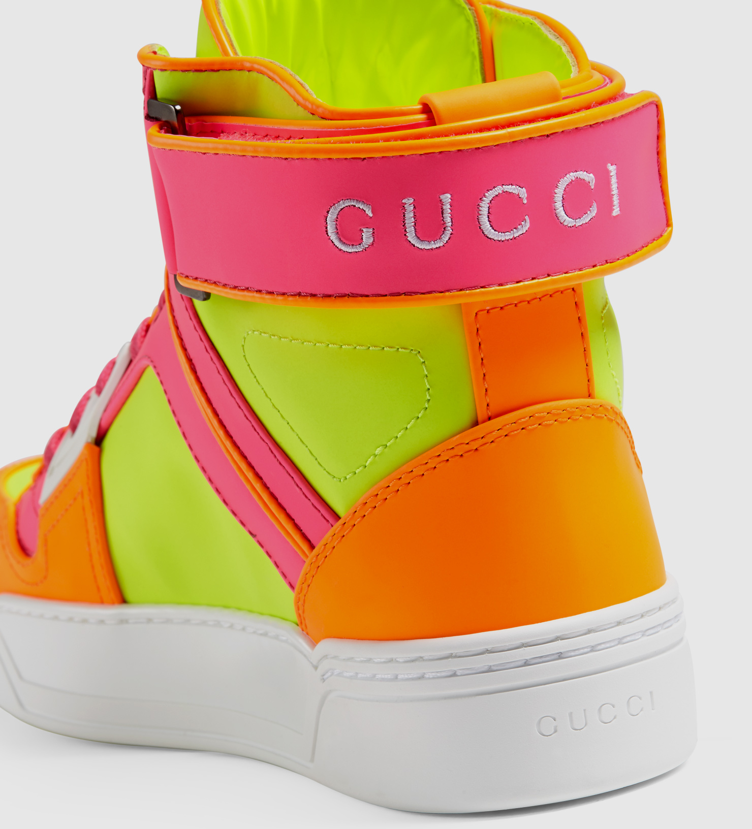ce89bd6d9 Gucci New Basketball Neon Leather High-top Sneaker - Lyst