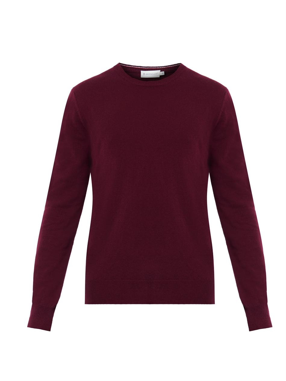 Moncler Crew-neck Wool Sweater in Red for Men | Lyst