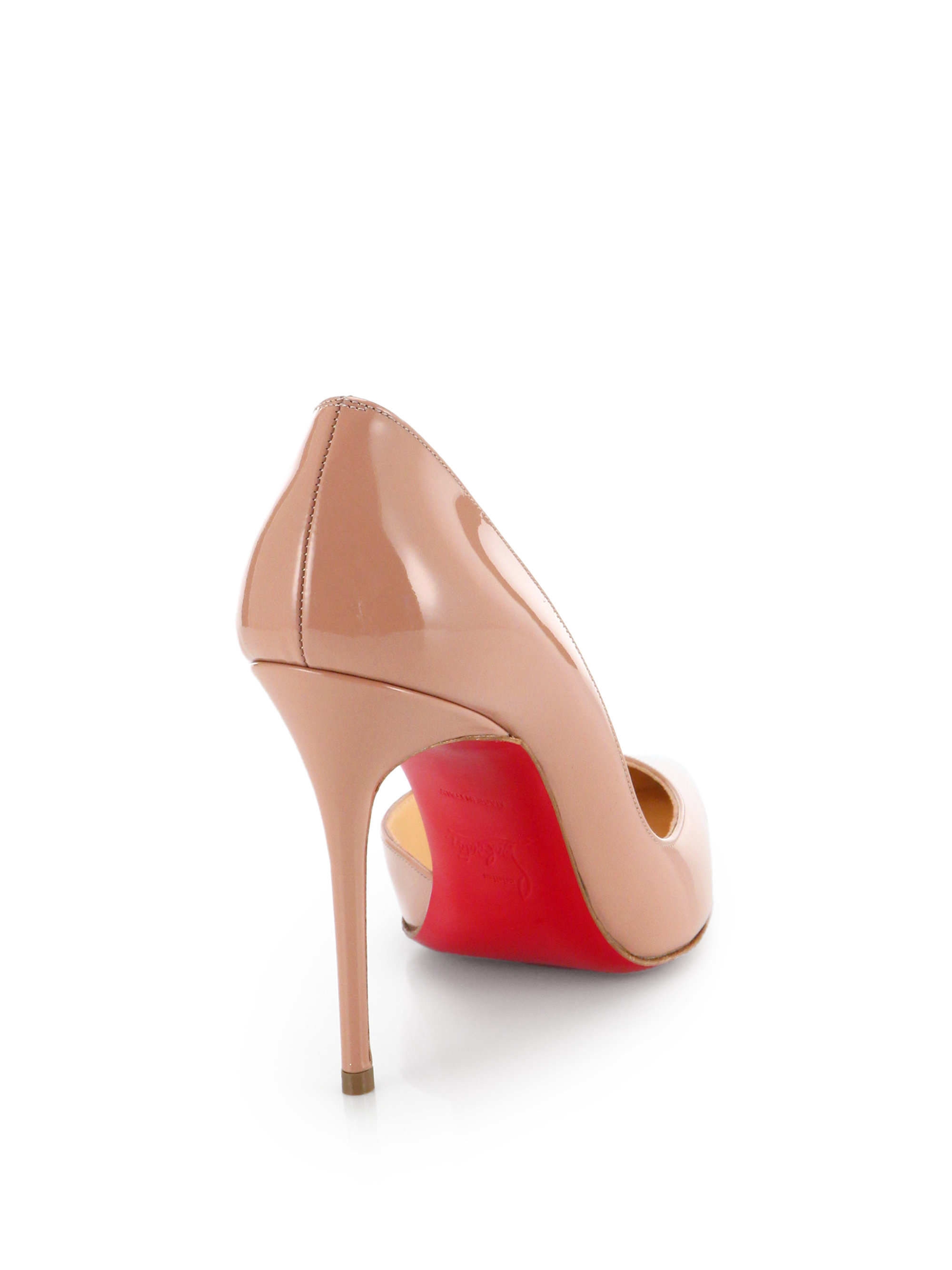 christian louboutin round-toe d\u0026#39;Orsay pumps Pink patent leather ...