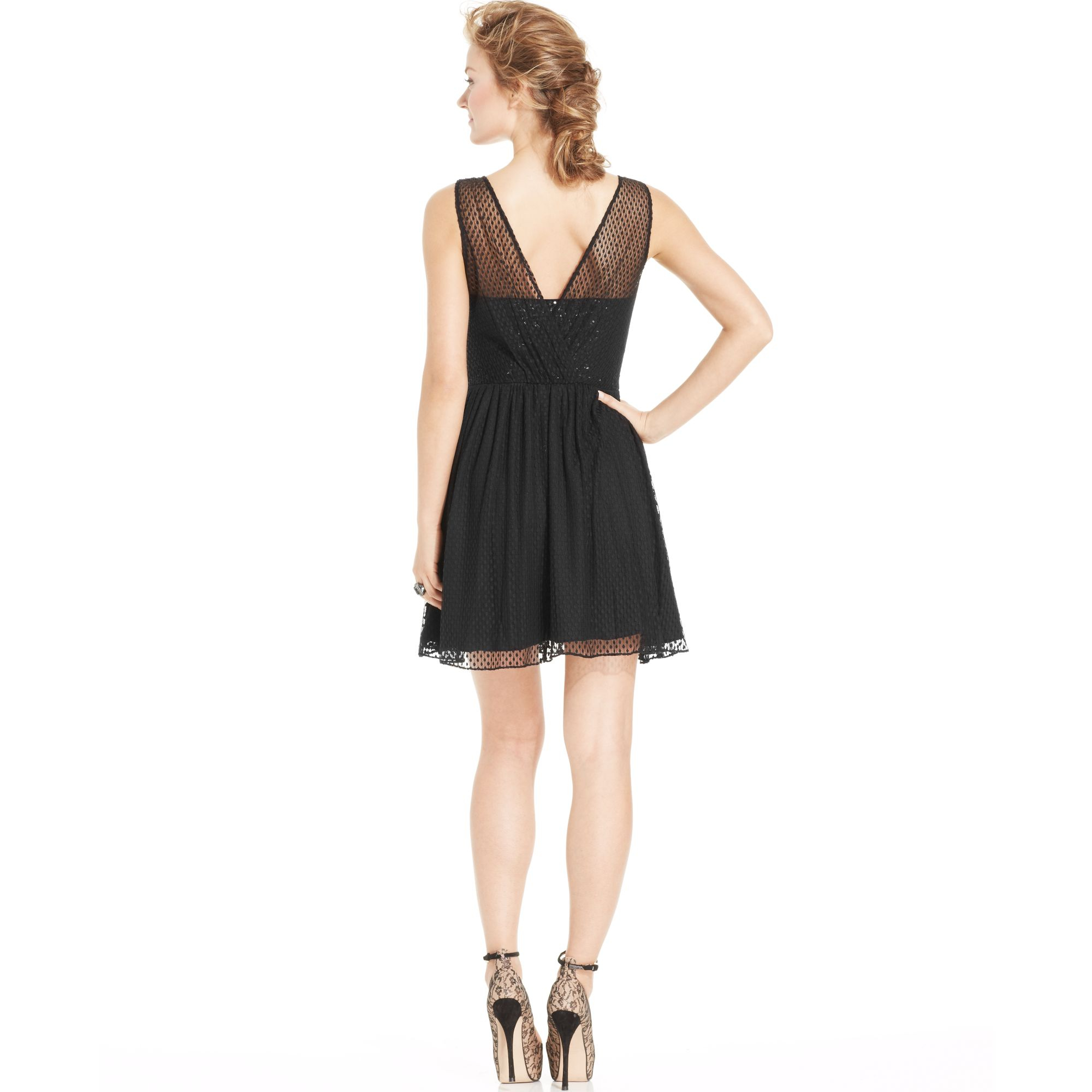 Lyst Guess Sequined Illusion Aline Dress In Black