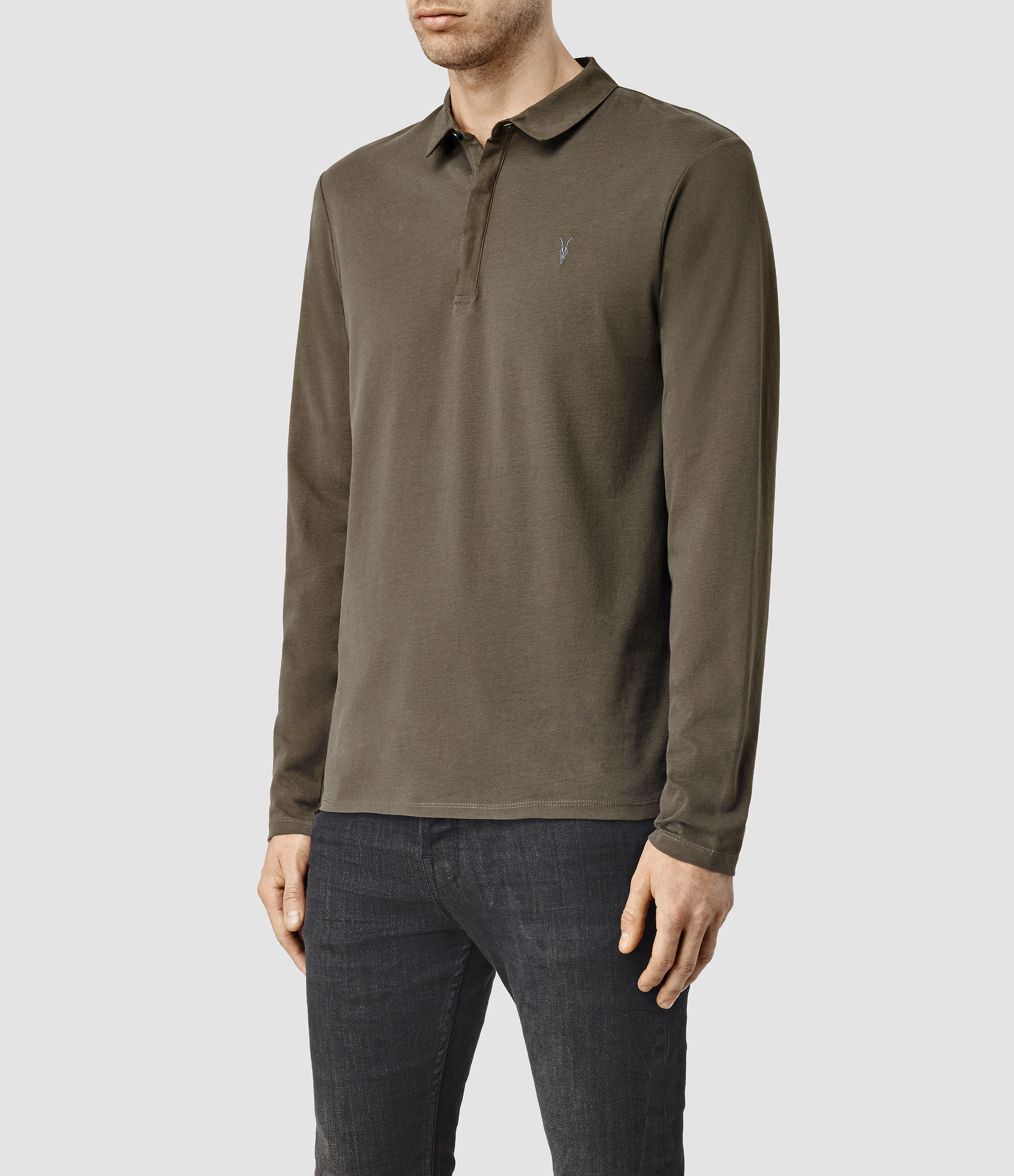 Lyst allsaints brace long sleeved polo shirt usa usa in for All saints polo shirt