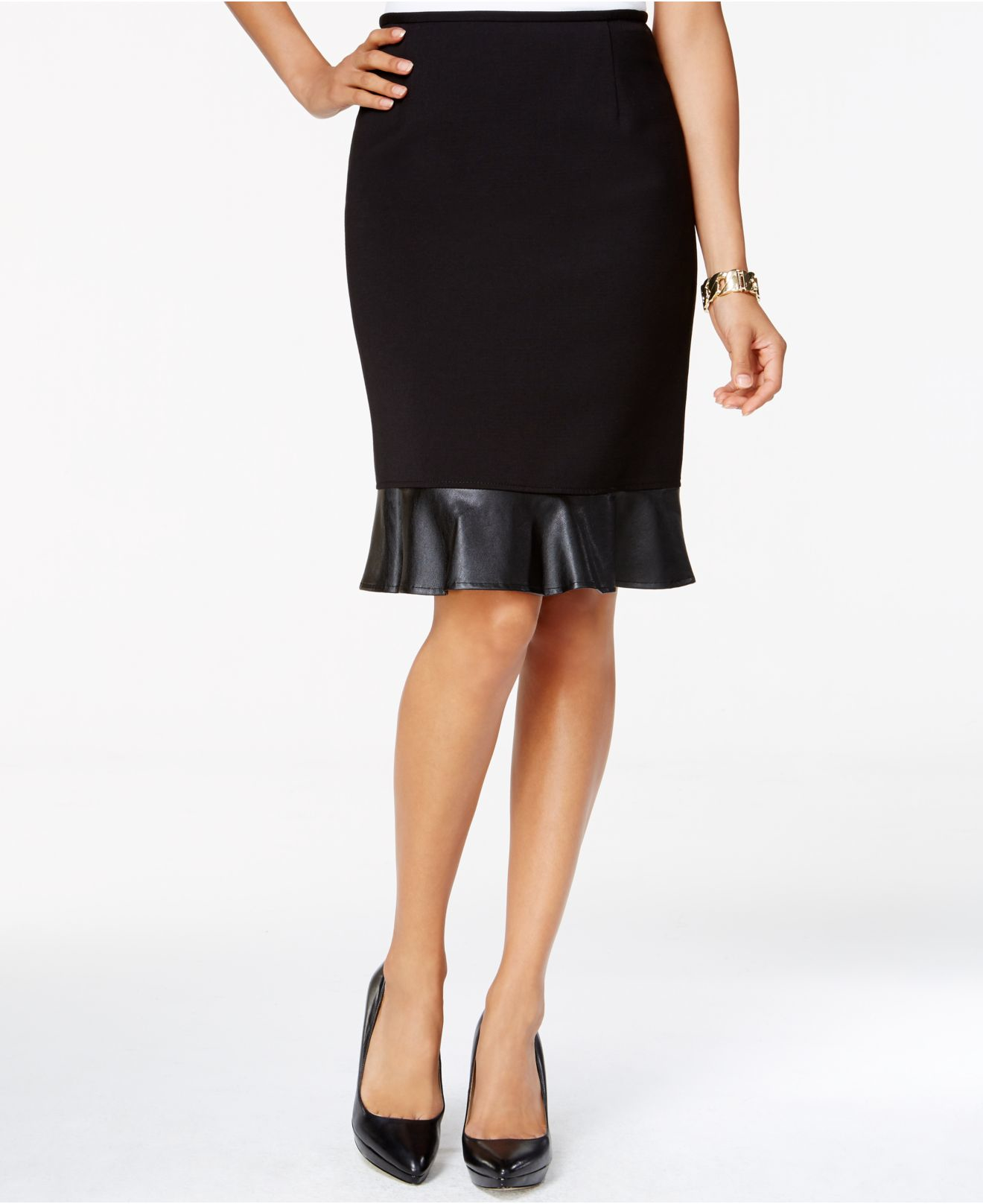 Tahari Petite Faux-leather Pencil Skirt in Black | Lyst