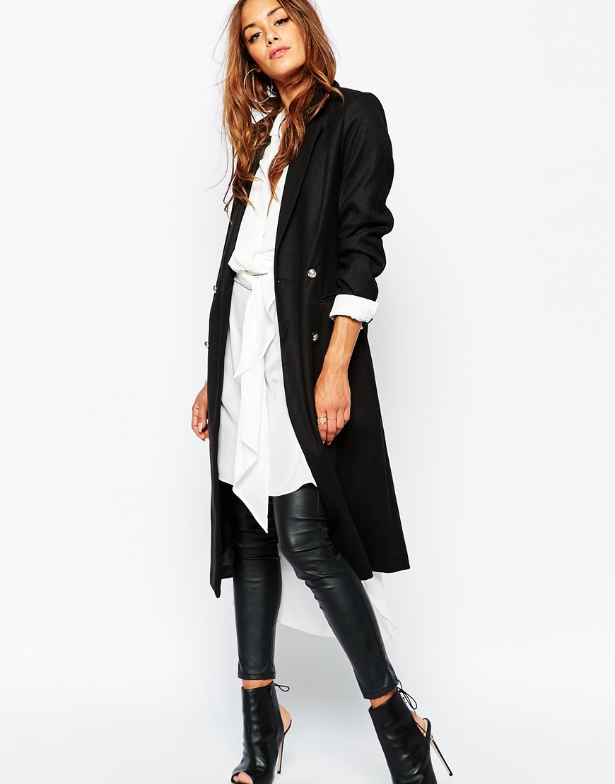 Missguided Tailored Blazer Coat in Black | Lyst