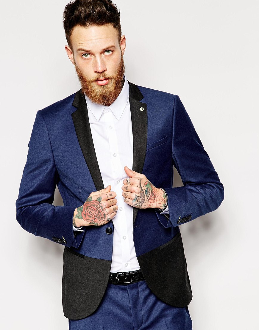 Noose and monkey Colour Block Suit Jacket In Skinny Fit in Blue ...