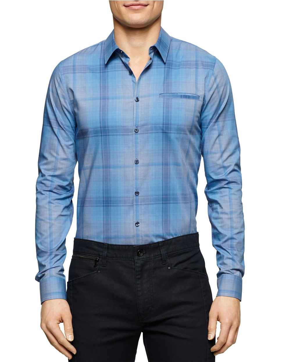 calvin klein plaid sportshirt in blue for men lyst. Black Bedroom Furniture Sets. Home Design Ideas