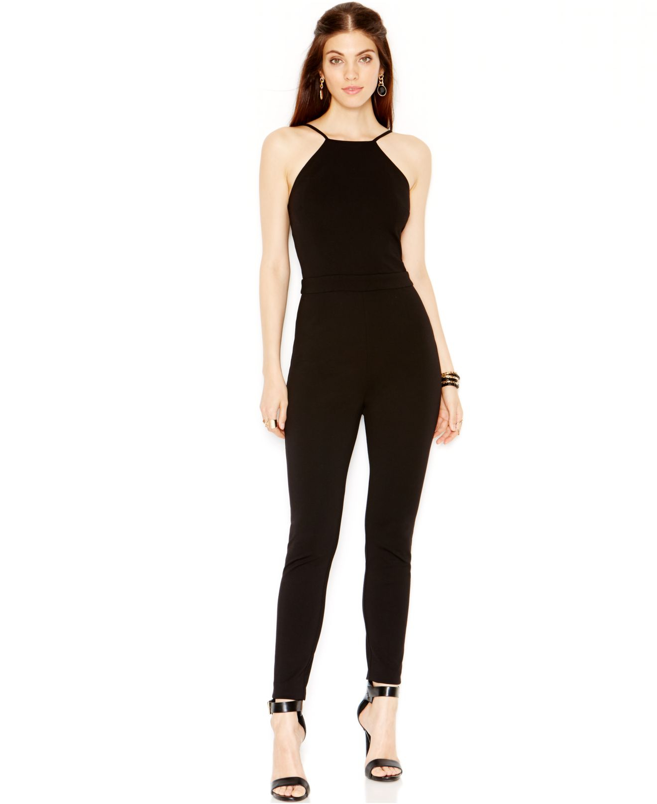 fa331b543a75 Lyst - Guess Sleeveless Banded-waist Jumpsuit in Black