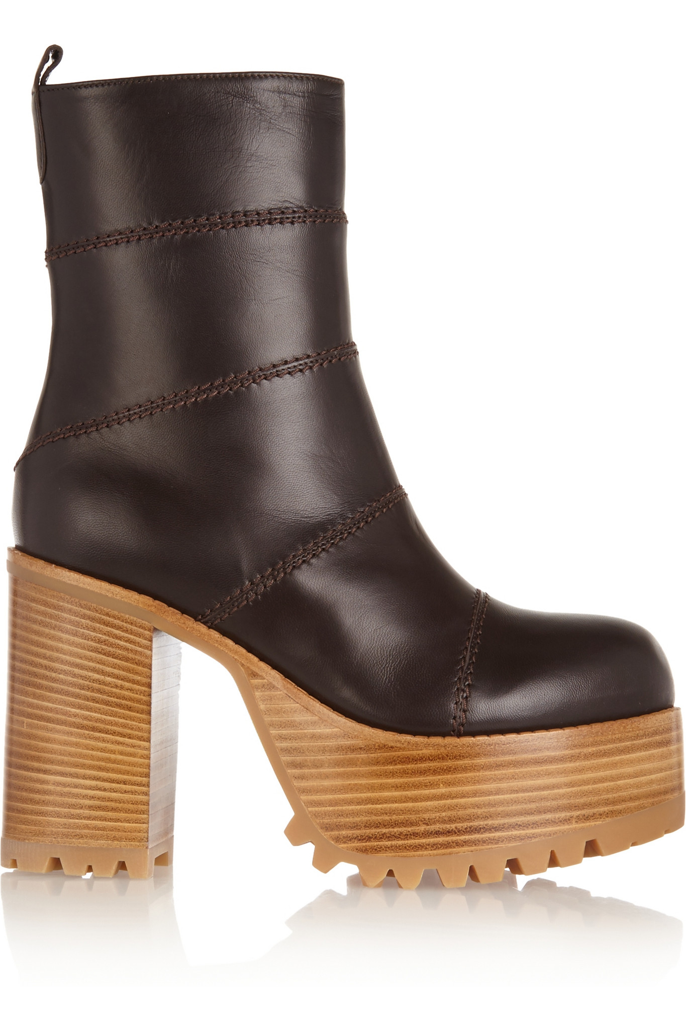 marni paneled leather platform boots brown in