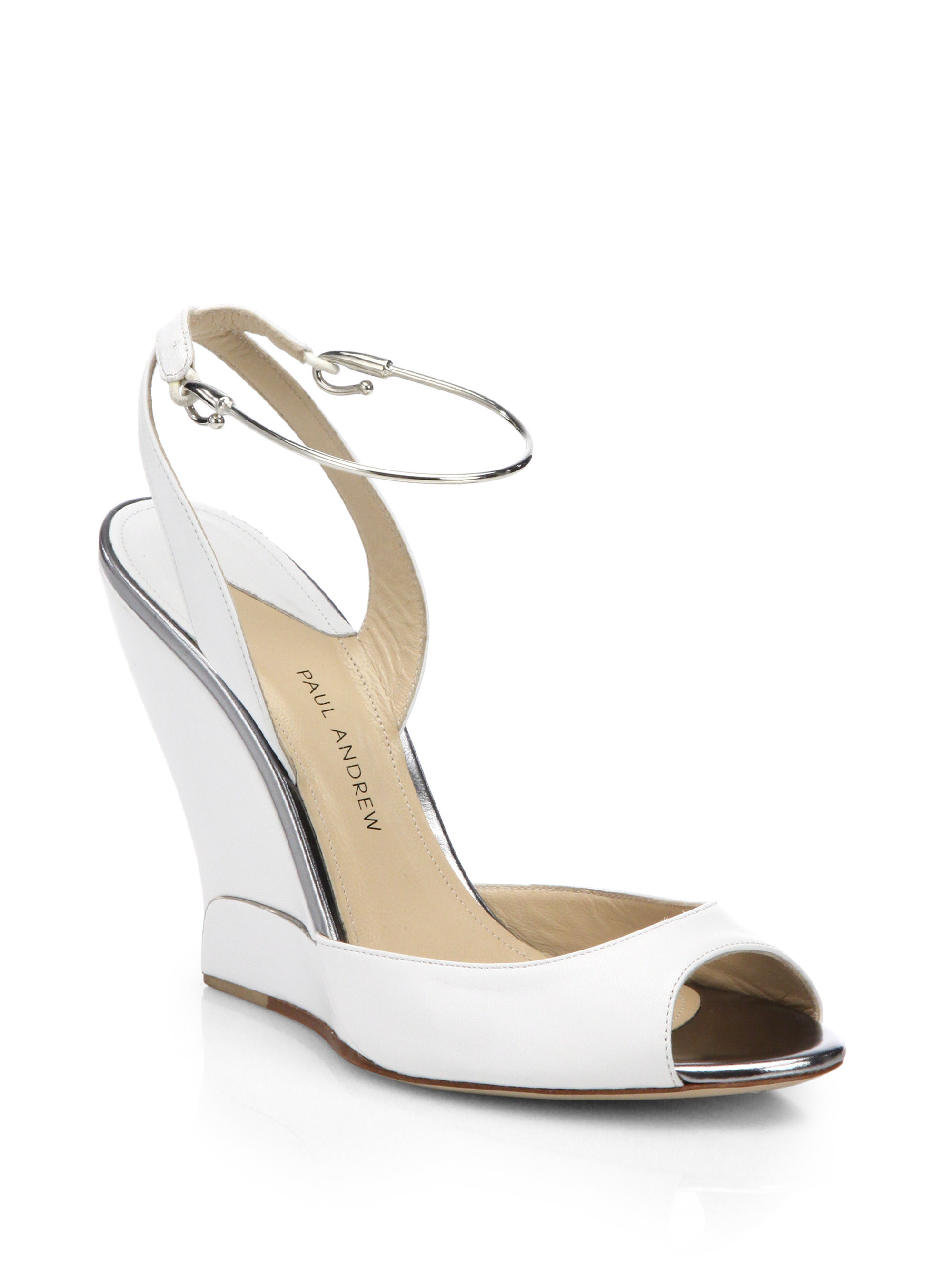 paul andrew delphi leather open toe wedge sandals in white