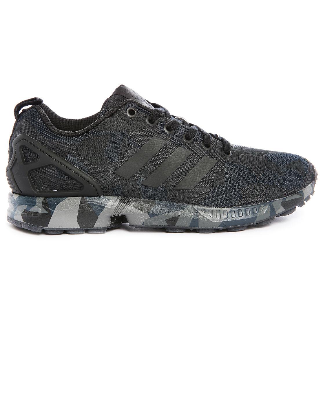 adidas originals zx flux mesh black camouflage sneakers in. Black Bedroom Furniture Sets. Home Design Ideas