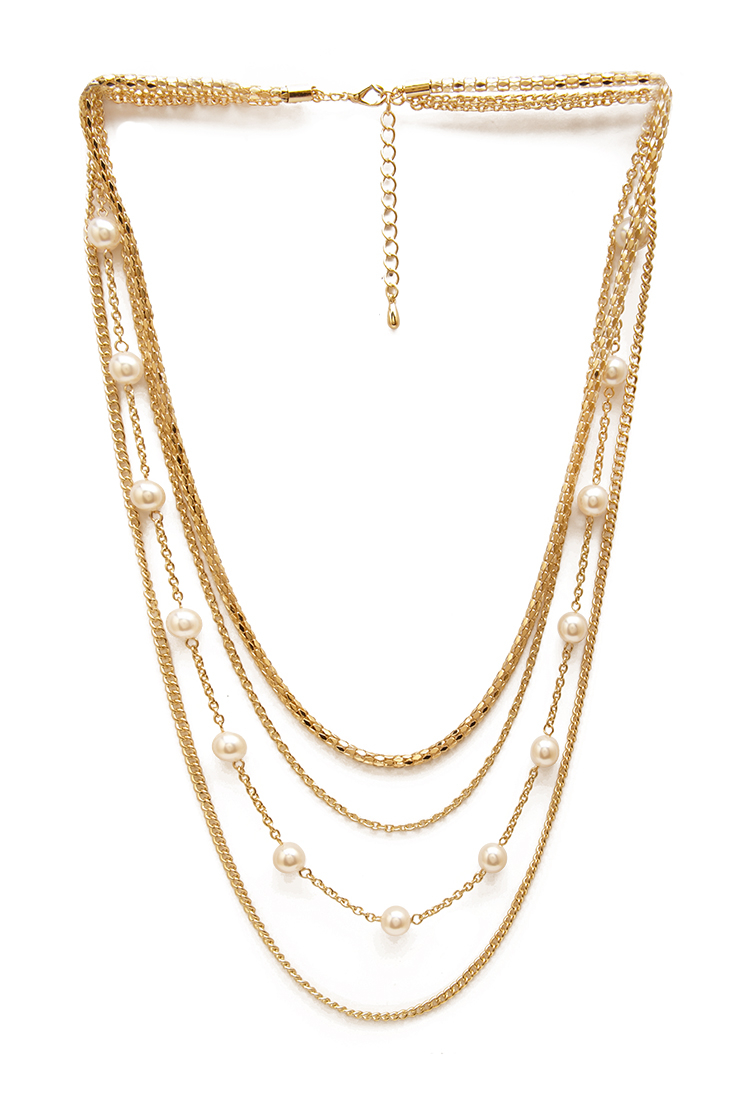 forever 21 faux pearl layered necklace in metallic lyst