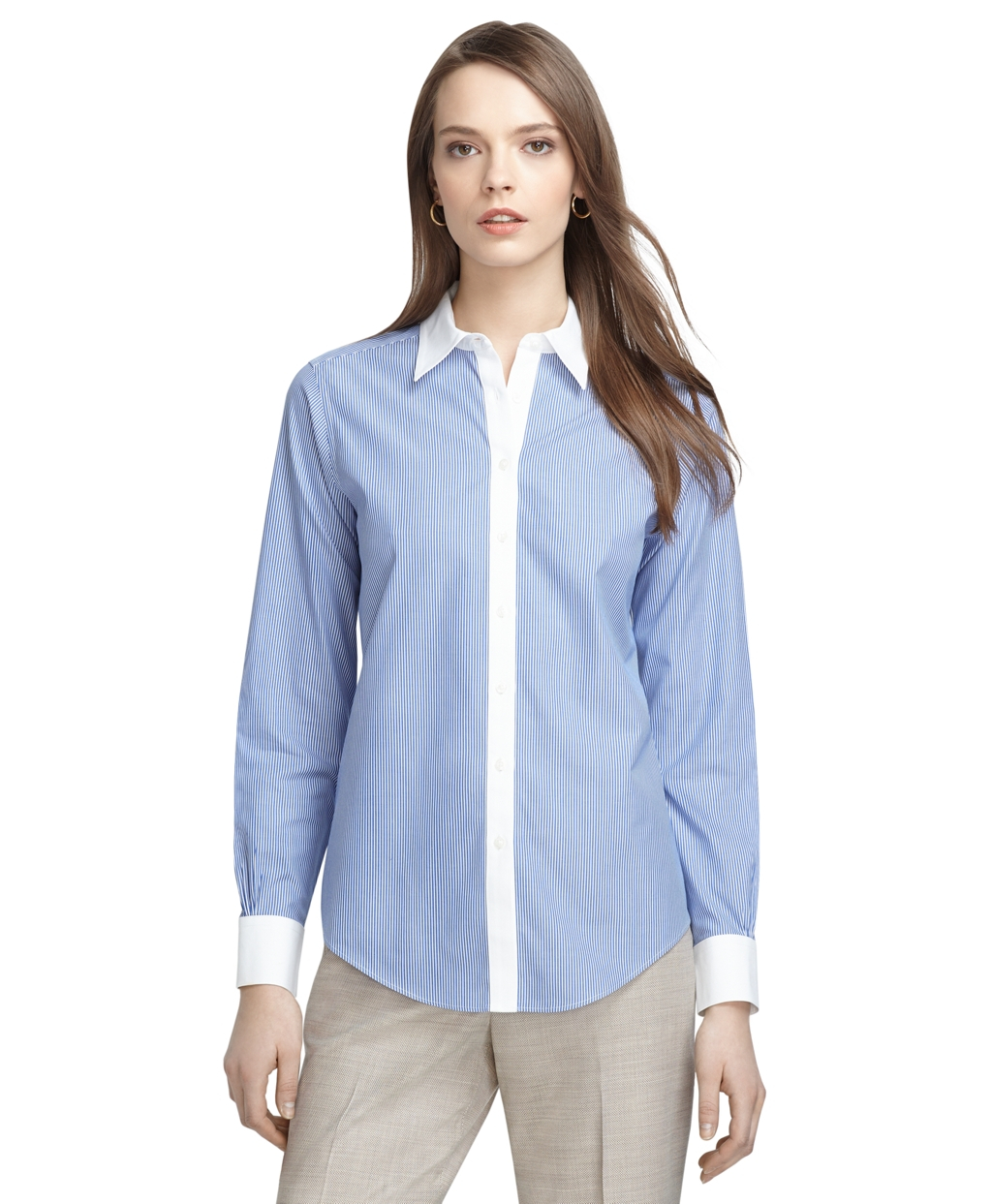 Brooks brothers classic fit noniron thin stripe dress for Brooks brothers dress shirt fit guide