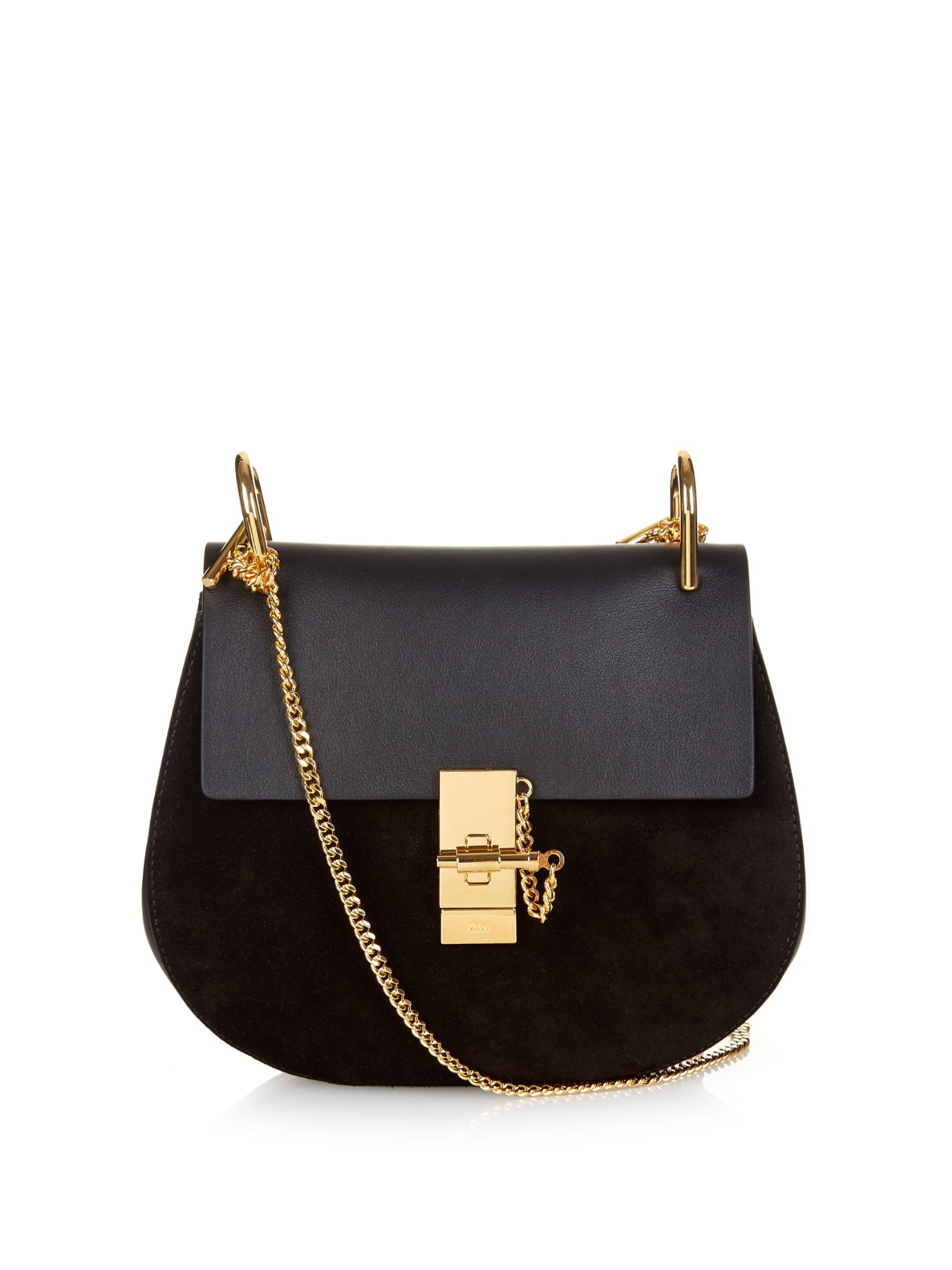 Chloé Drew Small Leather And Suede Cross-body Bag in Black | Lyst
