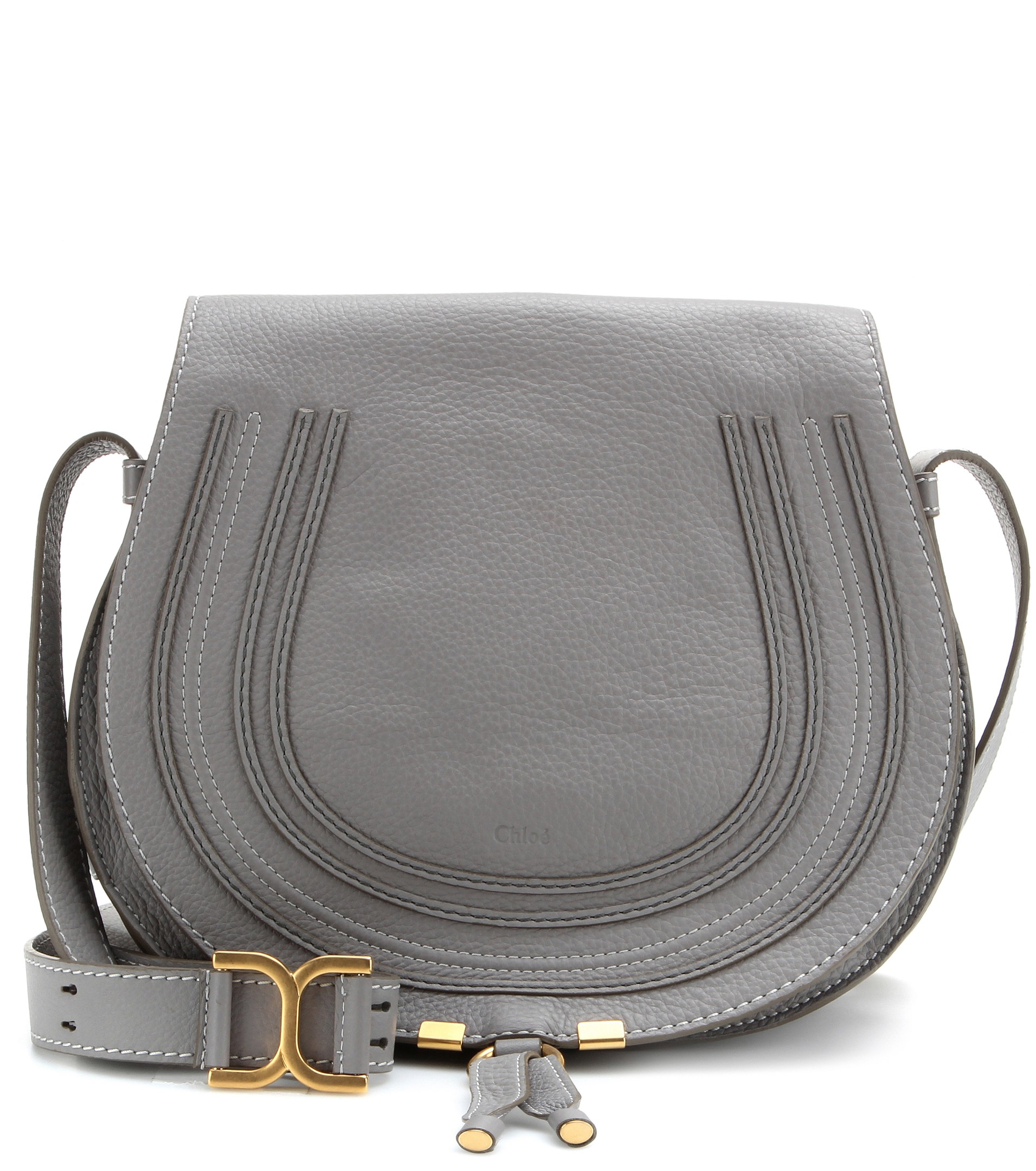 8fbe634a4494 Lyst - Chloé Marcie Leather Crossbody Bag in Gray
