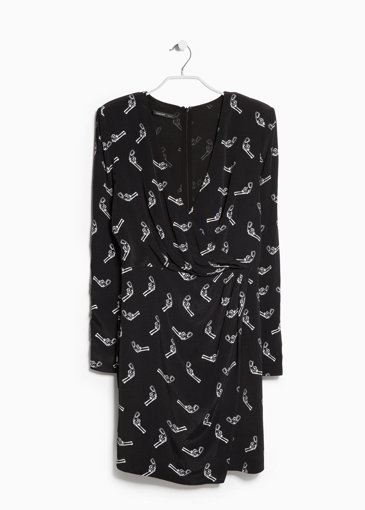 Mango Gun Print Dress In Black Lyst