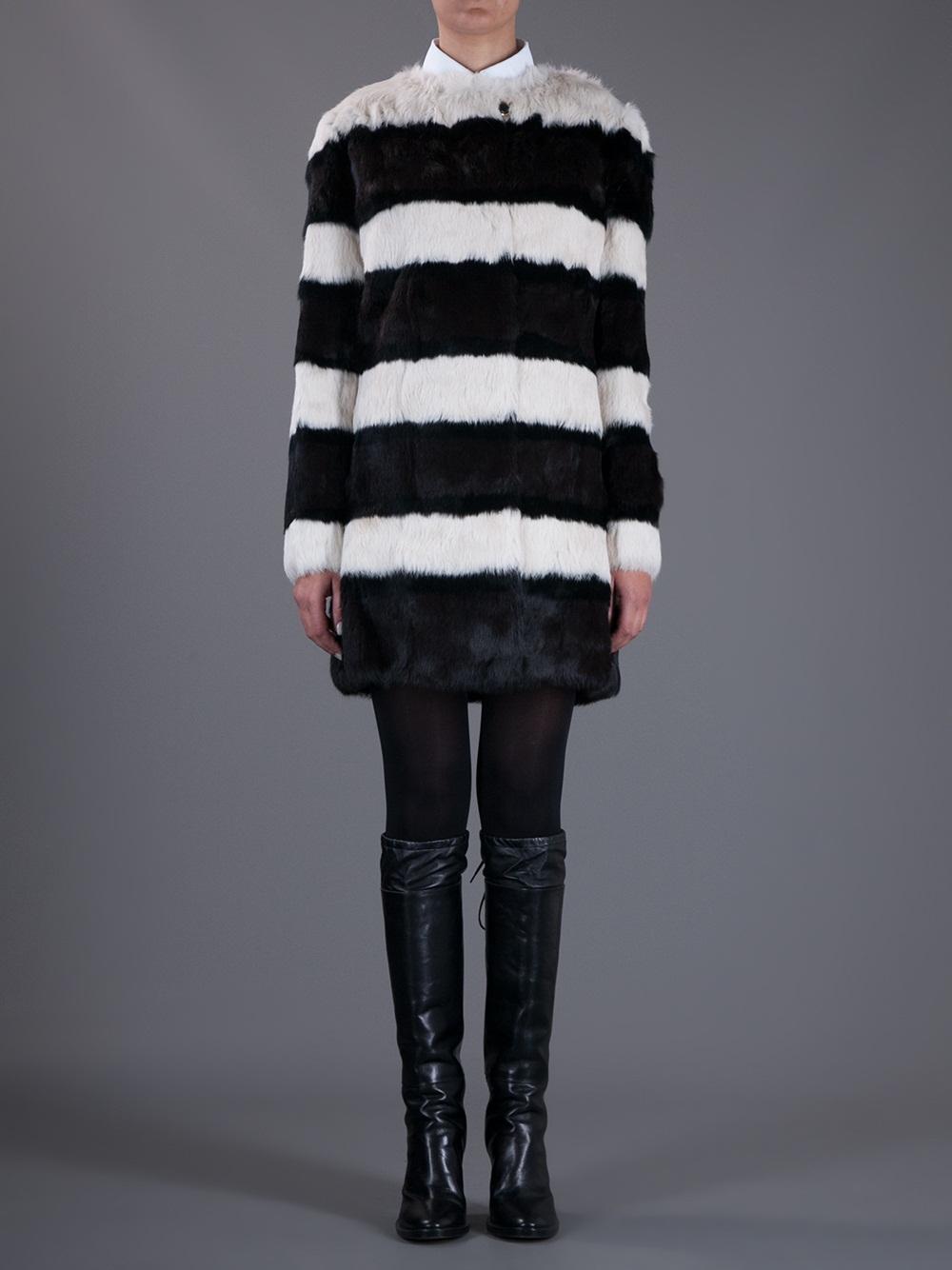 Lyst Tory Burch Striped Rabbit Fur Coat In Black