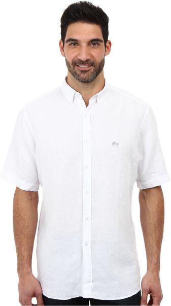 Lacoste short sleeve button down linen woven shirt in for White short sleeve button down shirts for men