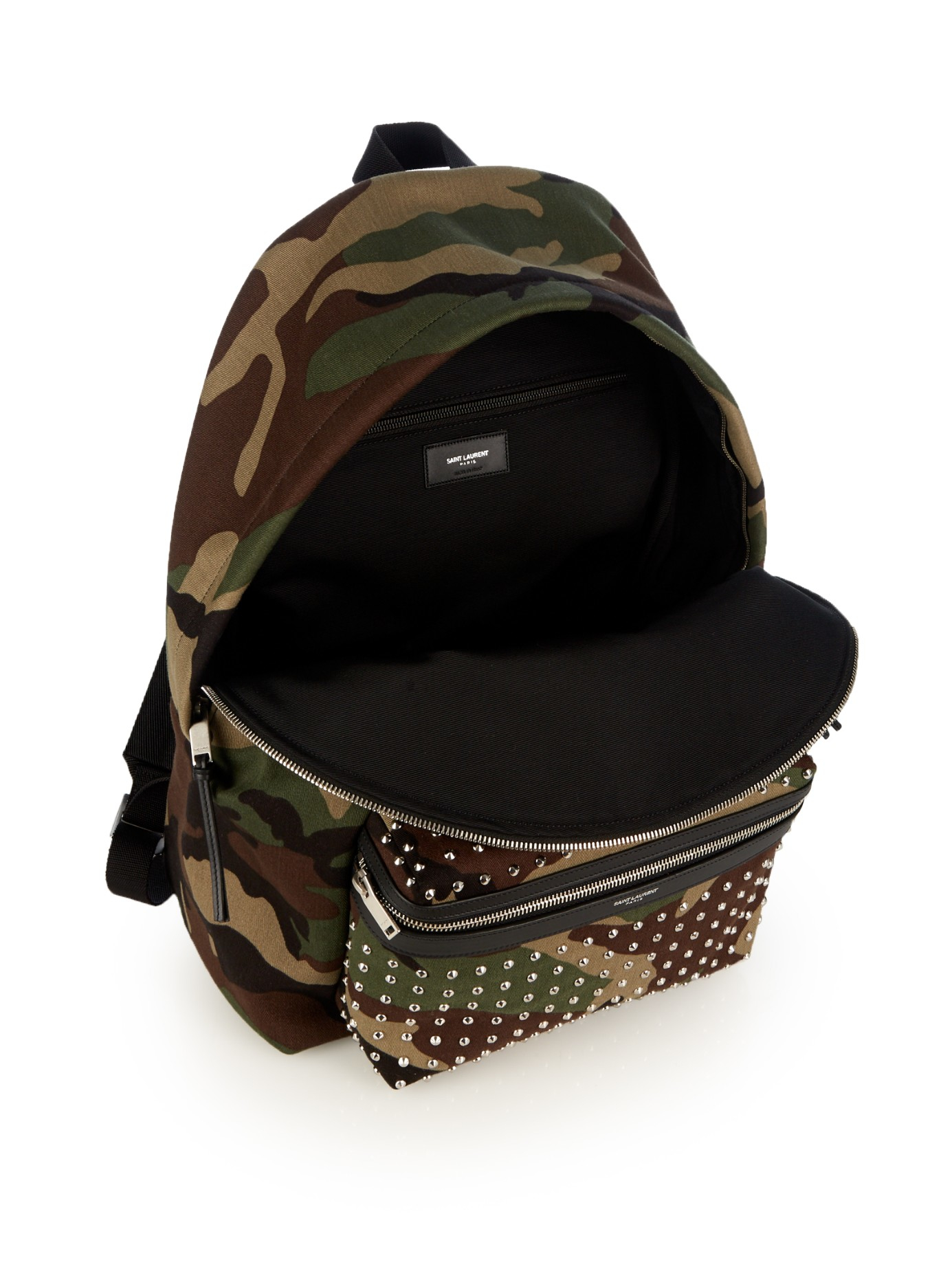 Lyst - Saint Laurent Camouflage-print Studded Canvas Backpack in ... 615120e3be