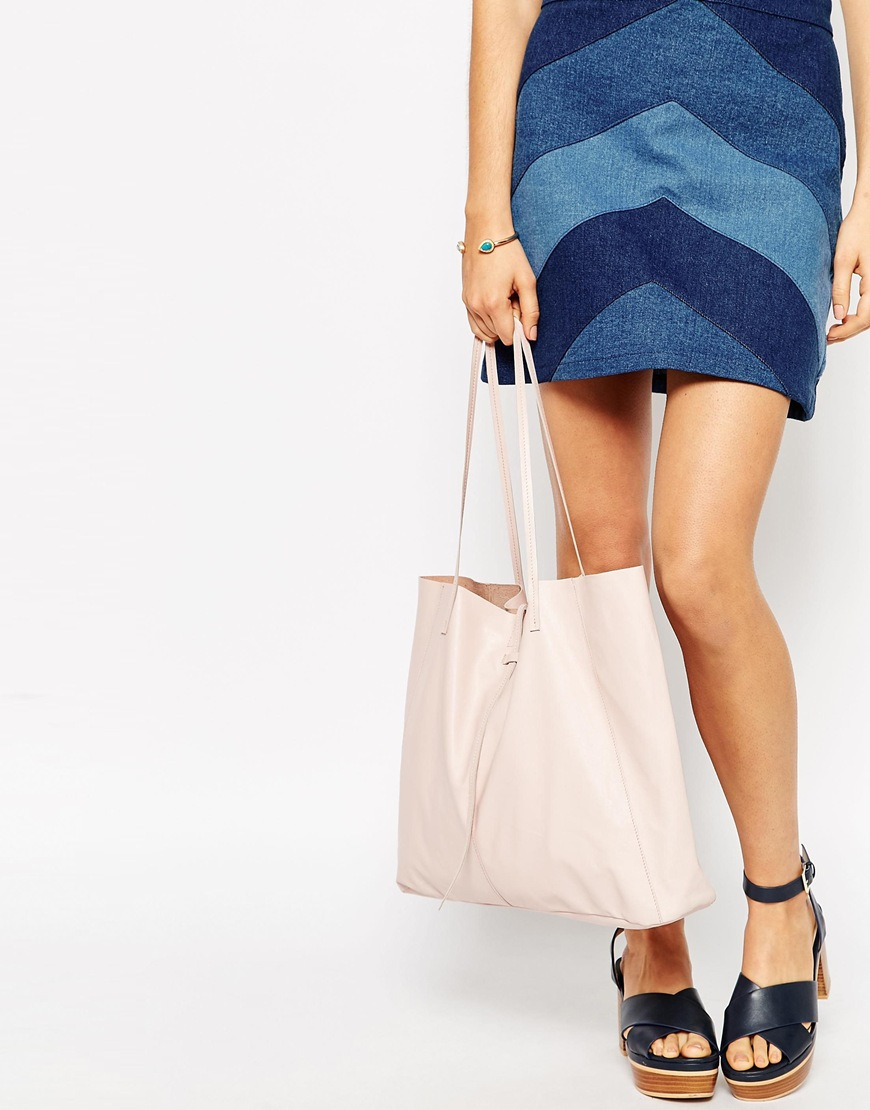 04b64a8932 ASOS Unlined Leather Shopper Bag With Tie Detail in Natural - Lyst