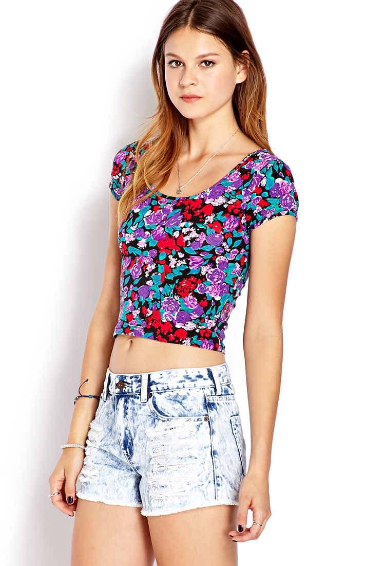 Lyst Forever 21 Painted Floral Crop Top In Purple
