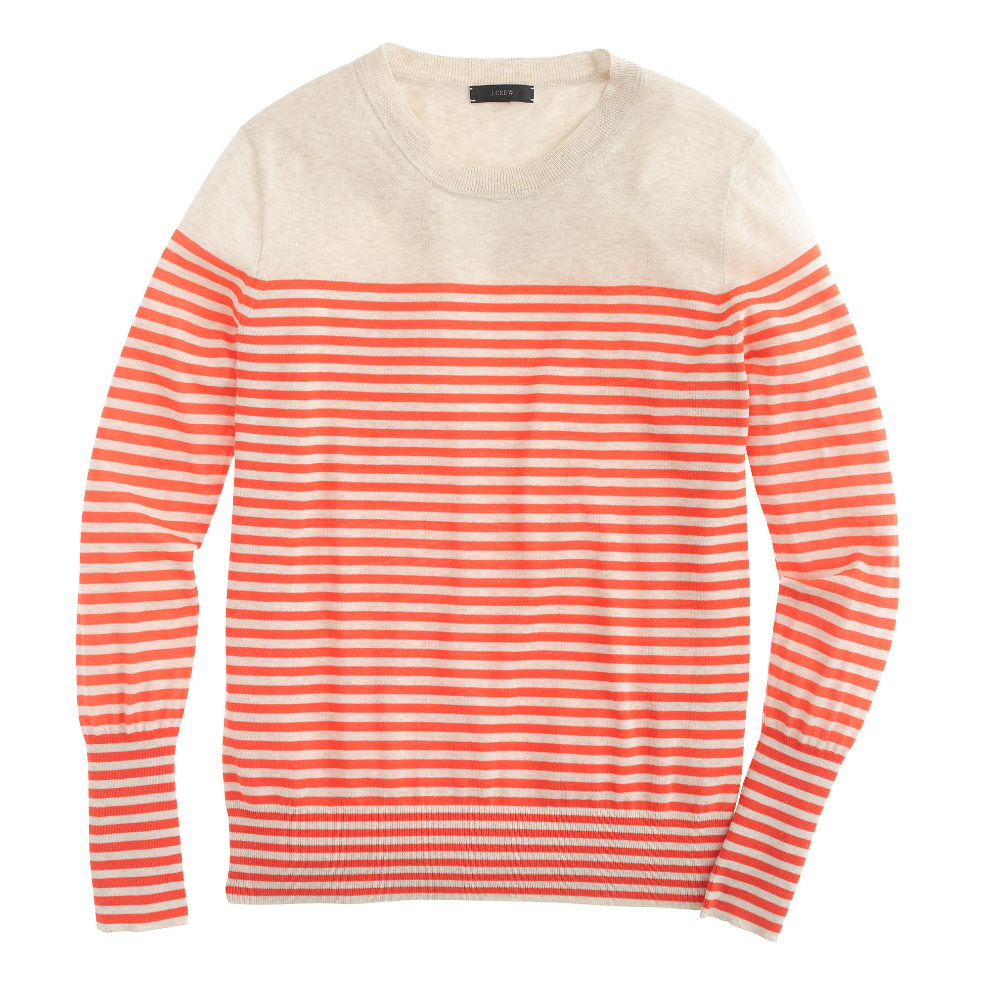 J.crew Summerweight Cotton Sweater In Stripe in Orange | Lyst