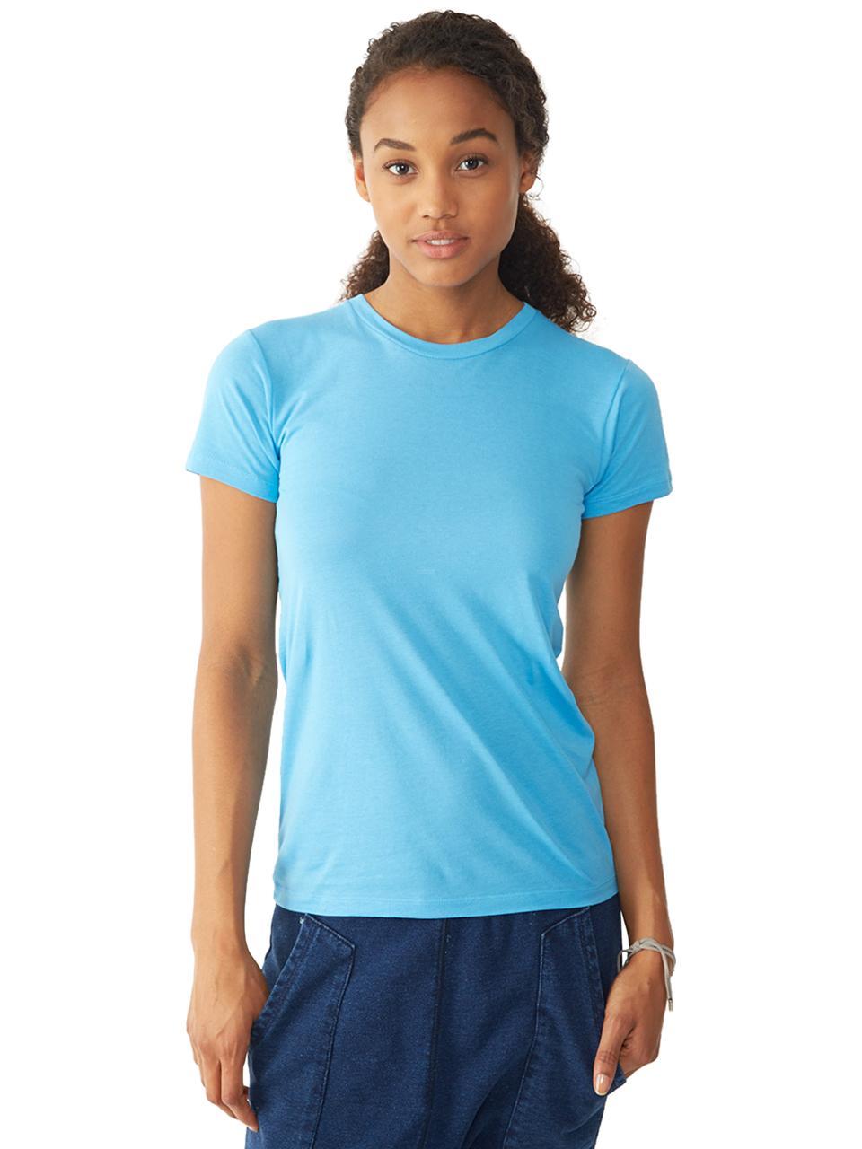 Alternative apparel basic womens crew t shirt in blue lyst for Basic shirts for women
